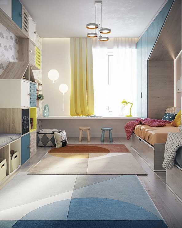 ایده تزیین کودکانه اتاق با وسایل و پرده رنگ شاد