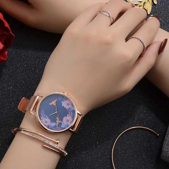 زیباترین ساعت صفحه گلدار فانتزی زنانه