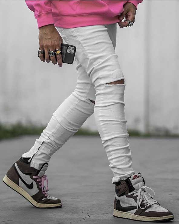 ست شلوار جین اسلش رنگ روشن و کتونی مردانه