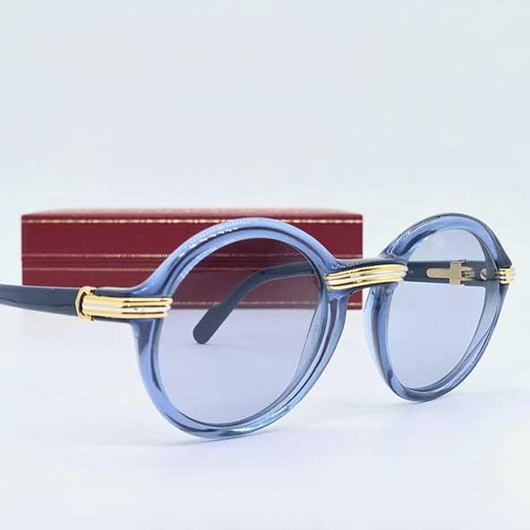 عینک آفتابی طبی مارک دار گرد با فریم و دسته آبی رنگ