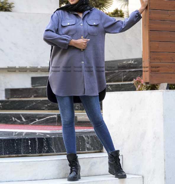 مانتو کوتاه دو جیب پشت بلند لاکچری با پارچه سویت غواصی و قیمت ارزان