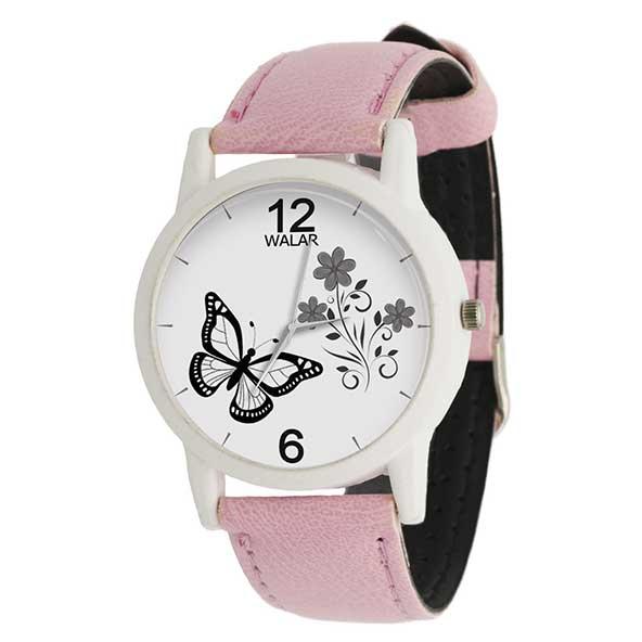 ساعت عقربه ای دخترونه با طرح گل و پروانه